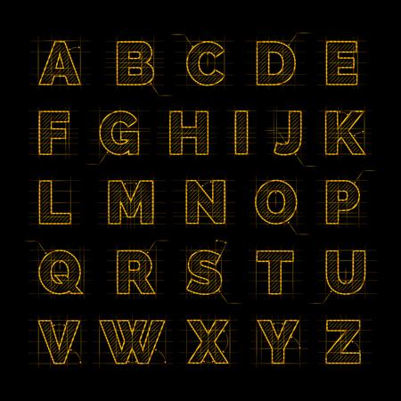 drafting: Golden font on black vector illustration. Drafting paper ABC design