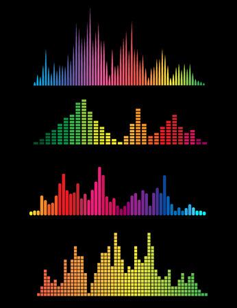 Colour music digital soundwaves isolated on black background. Vector illustration