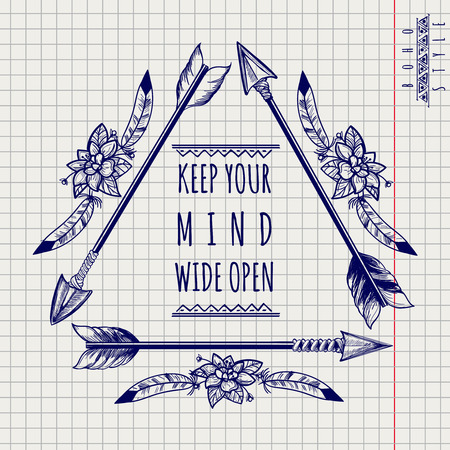 naive: Wild boho emblem with drawing arrows and feathers on notebook page. Vector illustration