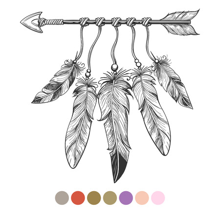 Handdrawn colorng boho element. Arrow and feathers on white background with color swatches. Vector illustration Vettoriali