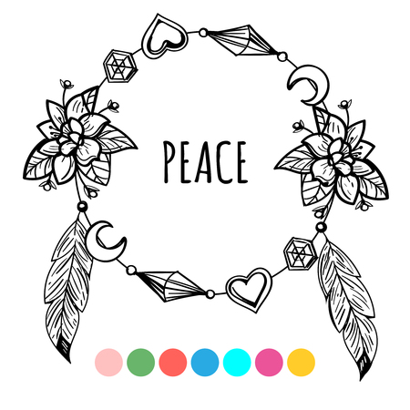 Vintage boho style coloring wreath and lettering sign peace. Vector illustration on white background