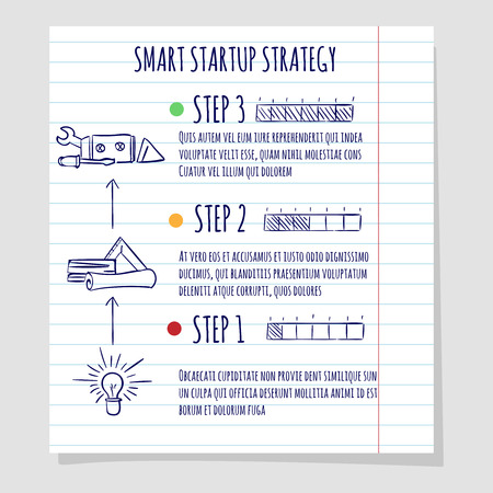 acceleration: Startup concept design vector on lined notebook page