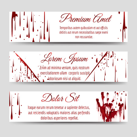 bloody hand print: Horror banners template with bloody handprint scratch and blood drops. Vector illustration