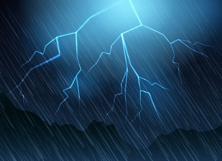 dazzle: Lightning and rain blue background. Nature thunder flash vector illustration