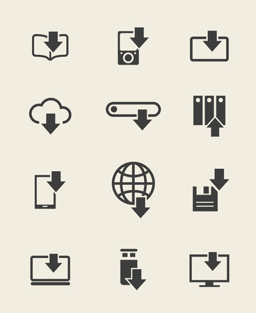 torrent: Different devices download icons and data loading arrow signs. Vector illustration