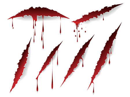 Vector bloody scratches and blood drops isolated on white background Vettoriali