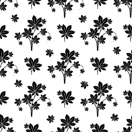 branching: Monochromic botanical seamless pattern with decorative floral branches. Vector illustration