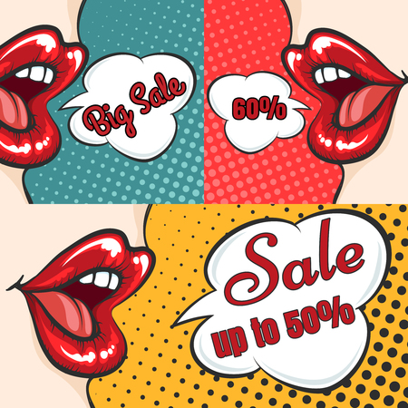 Pop art sale banners collection with woman lips and speech bubbles. Vector illustration