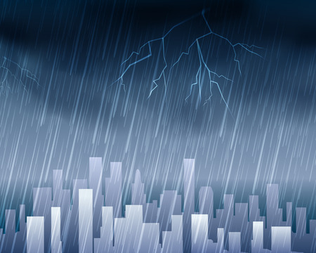 Rainy weather in town blue background. Skyline city or urban cityscape with rain and clouds vector illustration