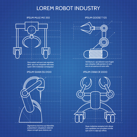 Robot arms blueprint vector illustration industrial robotic robot arms blueprint vector illustration industrial robotic armed machines stock vector 67930937 malvernweather Images