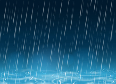 Autumn weather blue nature background with falling rain drops and puddles vector illustration