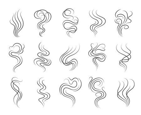 Smoke smell line icons. Smoking and steaming vector signs