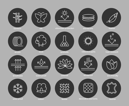 breathable: Fabric feature line icons set in black circles. Vector illustration