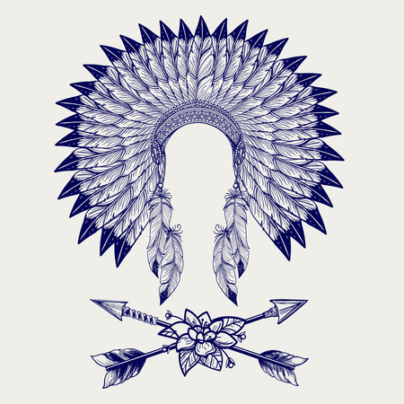 scratchy: Hative american headdress from feathers and arrows with flower. Vector illustration