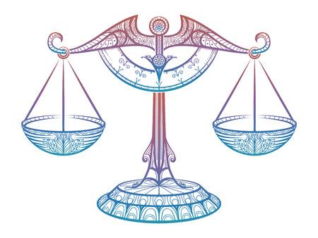 Bunte Gerechtigkeit Skalen oder Tierkreiszeichen der Waage Zentangle Stil Design. Vektor-Illustration Standard-Bild