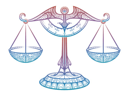 Colorful Justice scales or Zodiac sign of Libra zentangle style design. Vector illustration Stock Photo