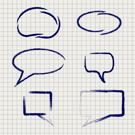 grundge: Rough paintbrush frames vector icons set. Ball pen grundge frames on notebook page