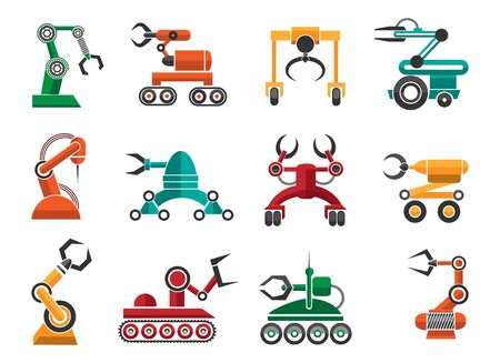 industrial machine: Manufacturing robotic auto hands machinery technology items isolated on white background. Industrial machine arms vector icons Illustration
