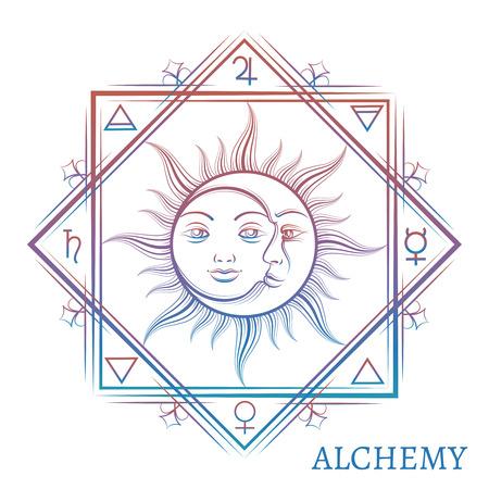 Handgetekende alchemie symbool geïsoleerd op een witte achtergrond. Vector illustratie