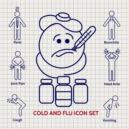 influenza: Line Influenza icons set on notebook page. Vector illustration Illustration