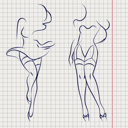 Hand drawn line sexy woman silhouettes design on notebook background. Vector illustration