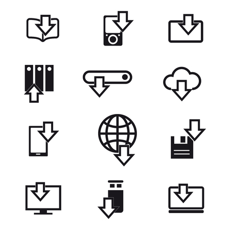 Different devices downloading black line icons isolated on white. Vector illustration