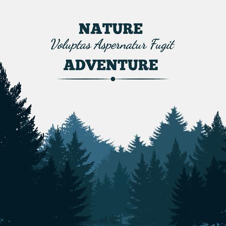 Sfondo di paesaggio foresta di pini con testo. Illustrazione vettoriale