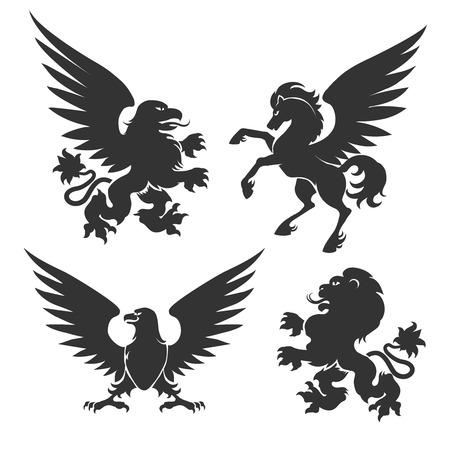 winged lion: La capa arma animales aislados sobre fondo blanco. Símbolos heráldicos como León y caballo, grifo alado y signos de águila ilustración vectorial