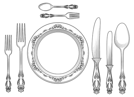 Engraving empty plate with spoon, knife and fork vector illustration. Cutlery and dinner plates hand drawn sketch for restaurants