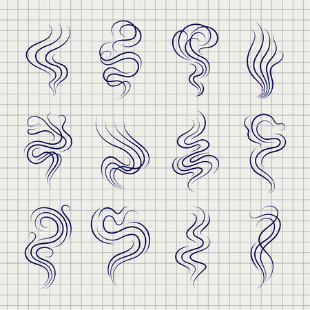 vapor trail: Smoke smell line icons on notebook page. Vector illustration