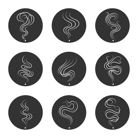 vapor trail: Smoke smell flat line icons in grey circles