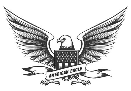 American bald eagle emblem or badge with shield, stripes and stars isolated on white background Stock Photo