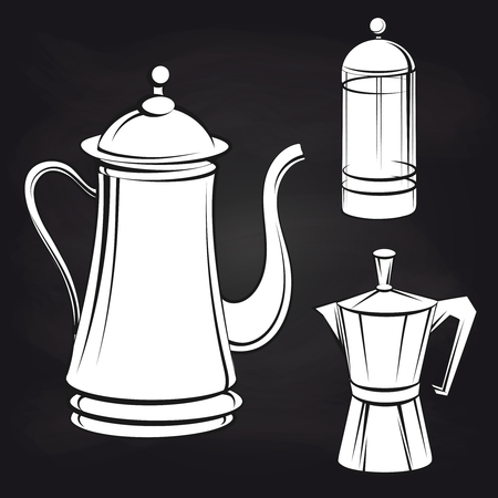 Coffee pot stickers on blackboard background. Vector illustration