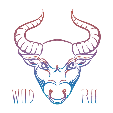 Colorful head of bull and lettering wild free isolated on white. Vector illustration