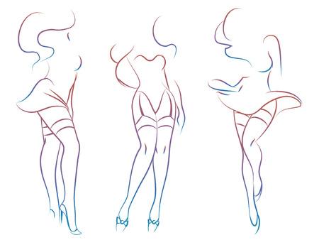 Diseño colorido de las siluetas de la mujer atractiva aislado en el fondo blanco. Ilustración vectorial