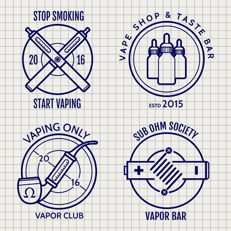 e cig: Ball pen vape shop logo or banners design on notebook page background. ector illustration