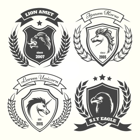 eagle shield and laurel wreath: Medieval heraldry coat of arm set with wreaths, shields and stars. Coats of arms with unicorn and horse, lion and eagle vector illustration