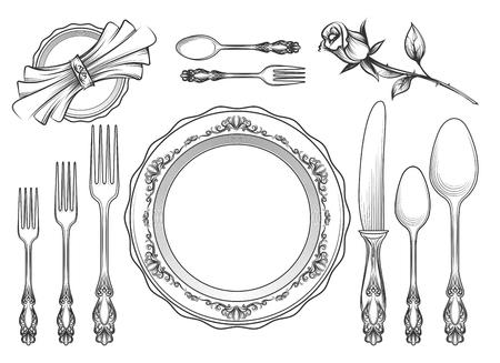 Schizzo di attrezzature di servizio ristoro d'epoca. Utensili romantici del caffè della cena disegnata a mano isolati su fondo bianco. Illustrazione vettoriale