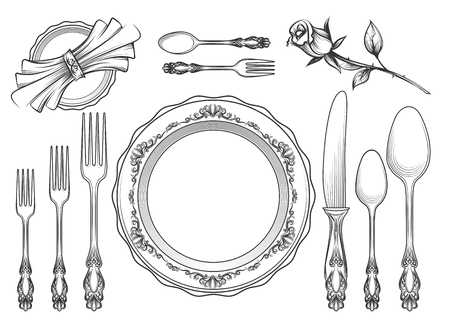 Vintage food service equipment sketch. Romantic hand drawn dinner cafe utensils isolated on white background. Vector illustration