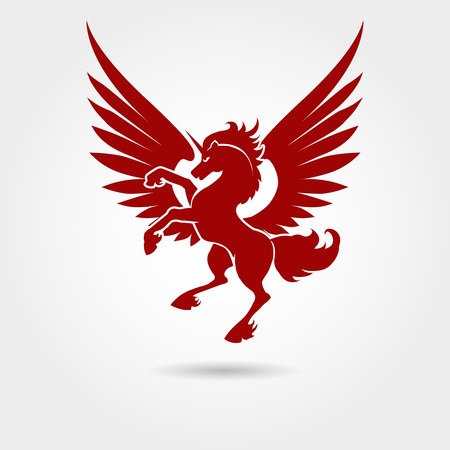 Red unicorn silhouette on white background Vector heraldic logo unicorn