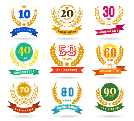 Anniversary numbers design isolated on white background. Years traditional celebration party banners vector illustration Illustration