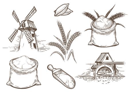 Illustrazione vettoriale disegnata a mano con orecchie di grano e sacchi di farina. Retro elementi di pasticceria di schizzo con mulino e cereali integrali