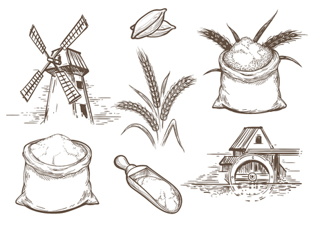 Hand drawn vector illustration with ears of wheat and flour sacks. Retro sketch bakery elements with mill and whole grains