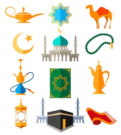 Icônes arabes musulmans vector illustration. La culture islamique a coloré les signes pour ramadan kareem