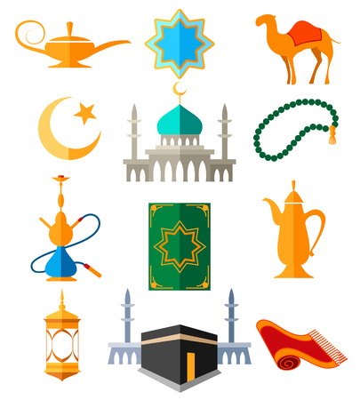 Muslim arabic icons vector illustration. Islamic culture colored signs for ramadan kareem