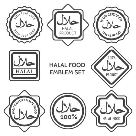 Halal voedselproductlabels. Islamitische koosjer gecertificeerde Arabische maaltijd embleem sjablonen. Vector illustratie Stock Illustratie