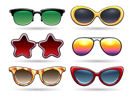 eyewear fashion: Colored sunglasses vector illustration. Sun eyeglasses with reflection for cool summer in retro or vintage style isolated on white