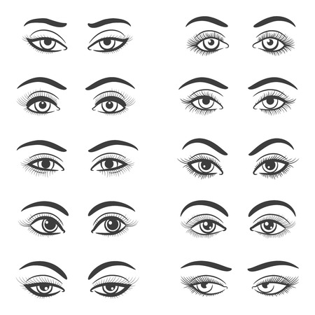 Beautiful female eye set isolated on white background. Hand drawn woman eyes vector illustration for girl portrait Ilustração