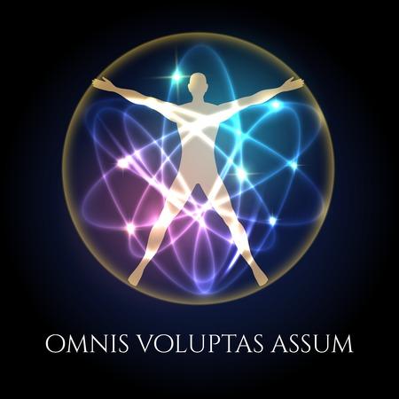 Human silhouette in glowing spheres futuristic emblem. Modern vitruvian man vector illustration Vettoriali