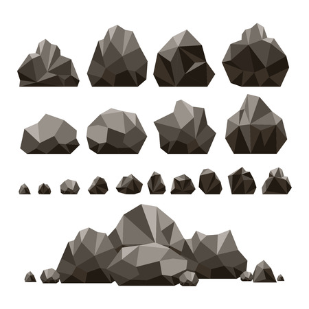 Stones and rocks 3d isometric vector illustration. Rubble and boulder set isolated on white background for game design
